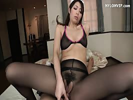 Japanese maid in nylon pleases boss
