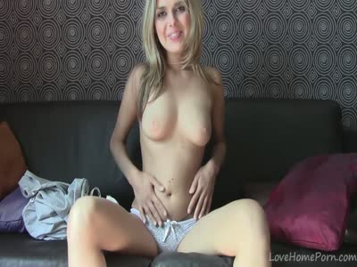 Perfect blonde doing what she likes the most