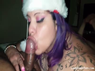BBW sucking black dick on christmas