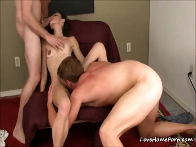 Hot brunette and two bisexual guys in a really sexy threesome
