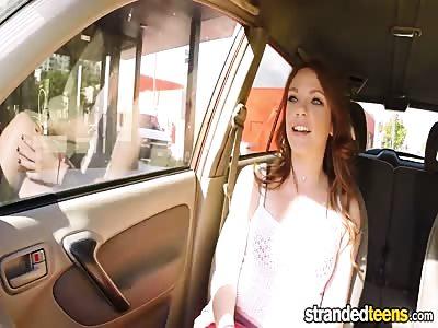 StrandedTeens - Freckle face teen loves car sex