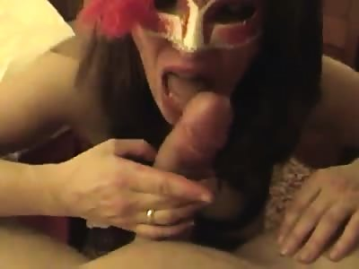 Horny slutty brunette keeps a mask on while getting porncor.it