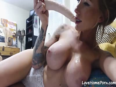 Diana deepthroats and gags on a massive dildo on webcam