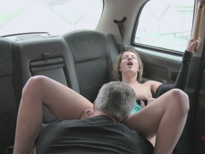 Busty amateur analyzed by fake driver in the backseat