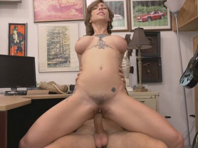 Busty amateur tattooed woman gets drilled by pawn guy