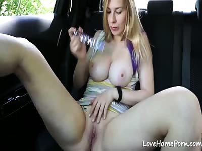 Stopping The Car And Pleasuring Herself With Her Toy